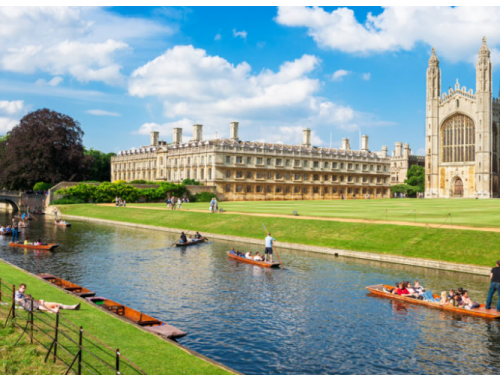 Punting on the river in front of Kings College Cambridge