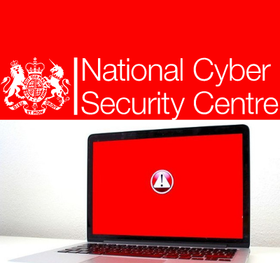 National Cyber Security Centre red screened laptop